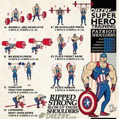 Superhero workout, get ripped strong boulder shoulders
