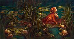 """""""Ondine"""" couverture de """"Ondine"""" ed Albin Michel, 2012 Gouache et huile sur papier 43 x 75 cm. Benjamin Lacombe."""
