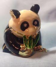 Panda Bear with Bamboo- Jewelry Trinket Box -Collectible