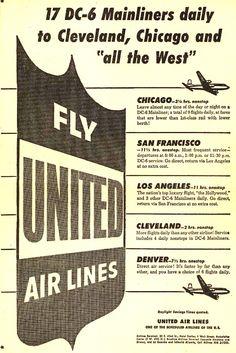 Vintage United Air Lines Ad - 1952
