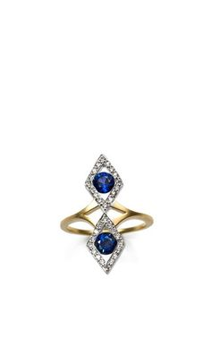 The Rhombus Pinky Ring With Blue Sapphires by PAOLA VAN DER HULST for Preorder on Moda Operandi
