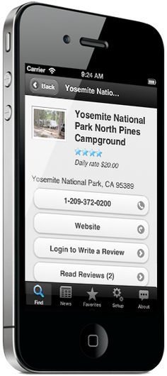 iPhone showing camground search results on Camp Finder app. It puts 18,000 campgrounds and RV Parks in your pocket. Find a spot when you're on the road via search or GPS, view photos, amenities, reviews and more... everything you need to find a place on the road!