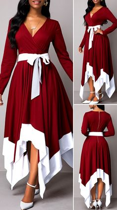 Belted Asymmetric Hem Long Sleeve Maxi Dress - New Site Elegant Dresses Classy, Classy Dress, Stylish Dresses, Beautiful Dresses, Latest African Fashion Dresses, African Dresses For Women, Cute Dress Outfits, Cute Dresses, Frock Fashion