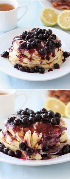 Lemon Ricotta Pancakes with Blueberry Sauce Recipe on twopeasandtheirpod.com These pancakes are the BEST!