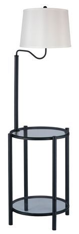 End table with build in floor lamp magazine holder rack for Cirrus bronze floor lamp