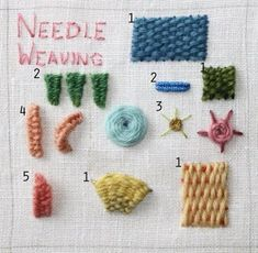 Embroidery Stitches Tutorial A clever little bee over at Flossbox has taken some beautiful photos of different kinds of embroidery stitching. How lovely! I can't wait to get into some embroidery and try these out. Embroidery Needles, Silk Ribbon Embroidery, Diy Embroidery, Cross Stitch Embroidery, Embroidery Patterns, Sewing Crafts, Sewing Projects, Stitch Crochet, Knit Crochet