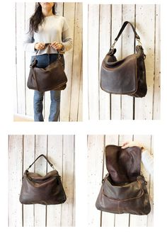 Handmade Italian Dark Brown Leather Tote SADDLE di LaSellerieLimited su Etsy