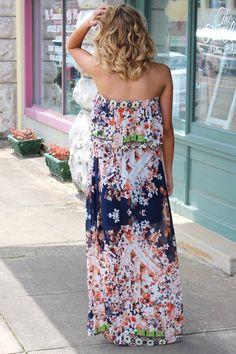 Summer Florals Maxi Dress {Navy}