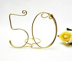50th Anniversary Wire Wedding Cake Topper by yellowroseaccents, $17.95