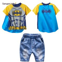 EMS DHL Fre baby boys Bat man Spider man kids summer 3pc set t shirt + Cape+ pants summer clothing outfit Children Clothing