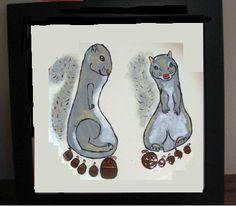 Footprint Ceramic Tile - Squirrel