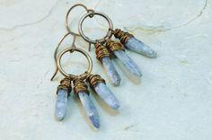 Ice Blue Kyanite earrings Wire wrap Natural by JillianDesigns4u