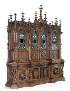 This bedstead, a particularly fine example of American Aesthetic Movement furniture, combines ambitious and extremely successful carving with spirited pain. Victorian Furniture, Unique Furniture, Vintage Furniture, Furniture Design, Art Decor, Decoration, Gothic House, Home Furnishings, Bookcase