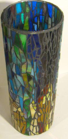 Glass Mosaic Candleholder or Vase by LizRobertsWorks on Etsy