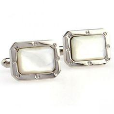 Elegant Rectangular Silver Opal Cuff Links,Cheap expensive tuxedo cufflink stud sets