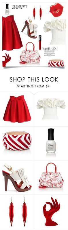 """Red & White"" by freida-adams ❤ liked on Polyvore featuring Chicwish, Brock Collection, Mola SaSa, Charlotte Russe, Christian Louboutin, Maison Margiela, Mark Davis, topsets, polyvorecommunity and topset"