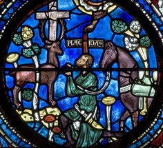 Chartres Cathedral - Placidus hears the words of Christ coming from the mouth of a stag
