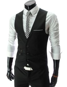 TheLees Mens slim fit chain point 3 button vest | mensclothingi