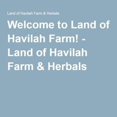 Welcome to Land of Havilah Farm! - Land of Havilah Farm & Herbals