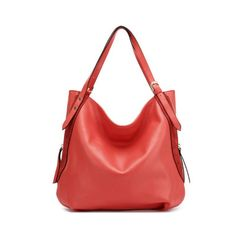 Fashion Leather Splice Large Tote Watermelon Red