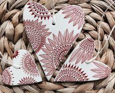 Set of 3 heart shaped Christmas ornaments,Handmade gift Tags,Minimal Christmas,Scandinavian Christmas Decorations,Nordic Christmas By Kemaku