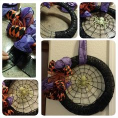 Halloween wreath- made with all Dollar Tree items cost $7 or less!!