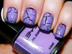 Crackle ~ Black base with lavendar/light purple crackle for the top effect.