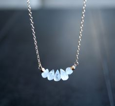 Gold Moonstone Cluster Necklace  elegant edgy by StudioGoods, $31.00