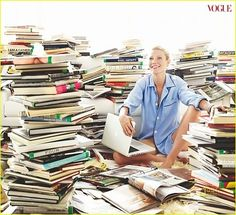 Gwyneth Paltrow, surrounded by a beautiful library.