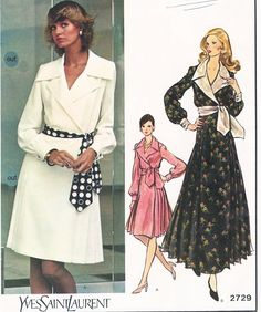 70s CLASSY Front Wrapped Step In Dress Pattern VOGUE PARIS ORIGINAL 2729  Day Length or Evening Maxi Shirtdress Size 8 Vintage Sewing Pattern