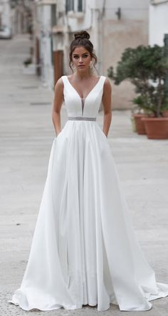 Simple A Line Boho Wedding Dress Long 2019 Backless Sleeveless Beaded Sashes Bea., Simple A Line Boho Wedding Dress Long 2019 Backless Sleeveless Beaded Sashes Beach Wedding Gown Plus Size Bride Gown wedding dress simple Simpl. V Neck Wedding Dress, Backless Wedding, Wedding Dress Trends, Wedding Dresses Plus Size, Boho Wedding Dress, Dream Wedding Dresses, Bridal Dresses, Event Dresses, Party Dresses