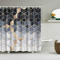 Geometric Shower Curtain Geometric Shower Curtain – Good Vibes Home Decor Cute Shower Curtains, Bathroom Shower Curtains, Shower Doors, Master Bathroom, Plywood Furniture, Cubes, Bath Screens, Marble Showers, Printed Curtains