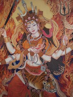 The sacred art as an offering to the Gods, and joy of men website page counter Kali Goddess, Indian Goddess, Mother Kali, Maa Durga Image, Lord Shiva Painting, Buddhist Art, Buddhist Texts, Spirited Art, Beautiful Fantasy Art