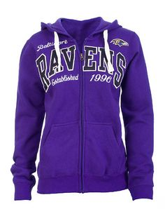 GIII 4HER BALTIMORE RAVENS team hoodie Full zip closure Embroidered logo patch letters across front Dual front pockets Long sleeve Fleece inner lining