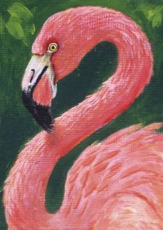 Pink Flamingo original acrylic painting