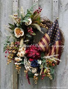 Victorian Garden Wreath with Tea Stained Flag ~A New England Wreath Company Designer Original~ )