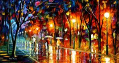 Evening Rain In The Park, by L. Afremov