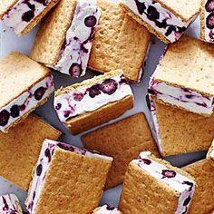 Blueberry Cheesecake Frozen Yogurt Sandwiches   MyRecipes.com