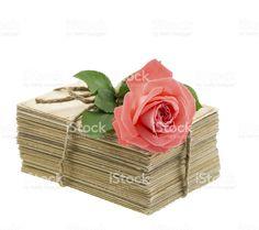 Stare miłości liter i pocztówki z różowy Róża kwiaty zbiór zdjęć royalty-free