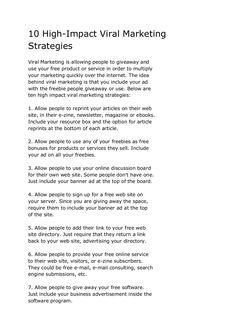 10-highimpact-viral-marketing-strategies by Sander van Dijk via Slideshare