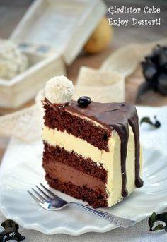 Tort Gladiator Sweets Recipes, Just Desserts, Cookie Recipes, White Chocolate Desserts, Chocolate Recipes, Chocolate Cake, Food Cakes, Cupcake Cakes, Romanian Desserts