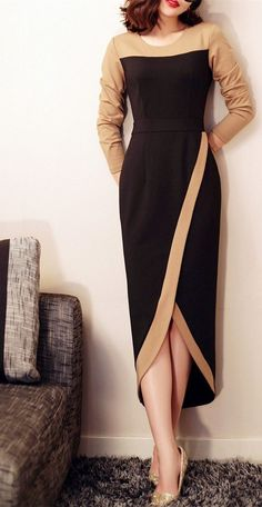 Shop she's black color block maxi tulip dress here, find your evening dresses at dezzal, huge selection and best quality. Trend Fashion, Look Fashion, Womens Fashion, Fashion Tips, Ladies Fashion, 1950s Fashion, Fashion Styles, Fashion Ideas, Fall Fashion