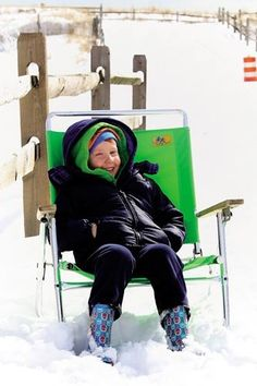Chrissy Hawes, 5, of North Wildwood opts to chill in a #beach chair in the #snow instead of going #sledding.