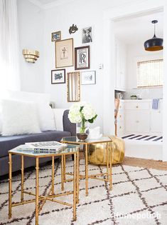 Small glass tables side-by-side and gold pouf!  Love. Love. Love.   Homepolish-venice-vanessa-interior-inspiration-8a9f3bf2