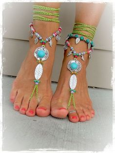 Turquoise Boho BAREFOOT Sandals IBIZA fun sandals Green Cowgirl Toe Thongs Statement foot wear sole less shoes crochet foot jewelry GPyoga Estilo Hippie, Ankle Chain, Ibiza Fashion, Crochet Shoes, Bare Foot Sandals, Boho Sandals, Ankle Bracelets, Hippie Style, Anklets