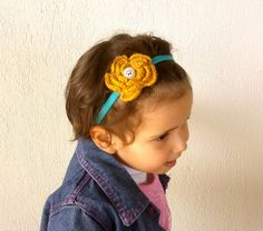 Elastic headband baby girls headband flowered by KnitterPrincess, $6.50