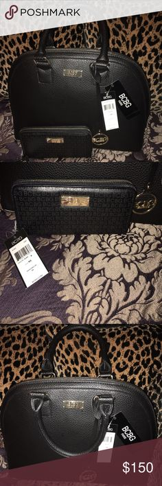 🔴BUY NOW!! LOWEST PRICE 🔴 BCBG DOME SATCHEL BCBG PARIS DOME SATCHEL HANDBAG BLACK WITH MATCHING BCBG LOGO WALLET WITH GOLD ACCENTS. FAUX LEATHER WITH 2 HANDLES. BCBG GOLD LOGO PLATE HARDWARE AND LOGO CHARM. BCBG Bags Satchels
