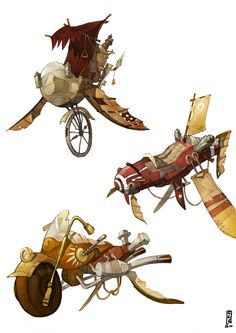 Steampunk vehicles color by Catell-Ruz on deviantART