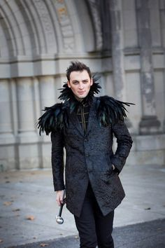 Black feather epaulettes & black feather collar. Huge oversize Men's feather shoulder pads. Perfect for Burning Man Festival. 'Black Swan' by BurningPlaya on Etsy