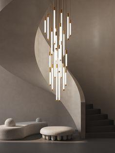 Flux   haberdashery Staircase Lighting Ideas, Stairway Lighting, Modern Staircase, Staircase Design, Chandelier Staircase, Luxury Lighting, Custom Lighting, Cool Lighting, Chandelier Video